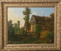 Unbekannter Künstler (wohl 1840, Biedermeier), Bauernlandschaft, Flusslauf m.Bauernhäusern, Öl/