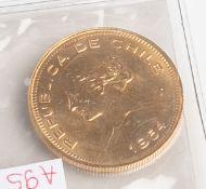 "100 Pesos ""Republica de Chile"" (Chile, 1954), 900/1000 Gold, Entw.: wohl Oscar Roty (1846- 1911),"