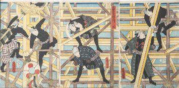 Unbekannter Künstler (Japan), Gerüstbauer, Farbholzschnitte, 3-teilig, mehrfach bez.,Gesamt ca. 37,5