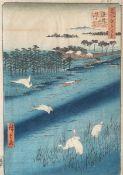 Unbekannter Künstler (Japan), Reiher am Fluss, Farbholzschnitt, mehrfach bezeichnet, ca.34,5 x 24