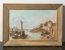 Unbekannter Maler (wohl 20. Jahrhundert), Ansicht von Koblenz, Öl/Holzpaltte, ca. 33 x 53cm,