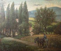 Harrach, Max (*1874 in München-?), Taunuslandschaft, Öl/Malpappe, Motiv beiKleinschwalbach, re. u.