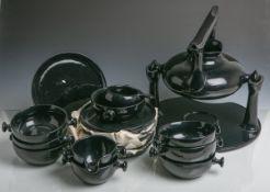 """Vintage Zen-Teegeschirr (Friesland, 1981-1997, Design v. Luigi Colani """"Form 62""""),schwarz-blau"""