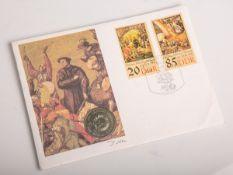 "5-Mark-Gedenkmünze ""Zwickau. Katharinenkirche"" (DDR, 1989), Thomas Müntzer 1489 - 1525,Dm. ca. 3 cm,"
