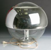 Design-Tischlampe (wohl Hoffmeister, 1970er Jahre), elegante Kugelform, Glas/Chrom, Dm.ca. 35 cm, H.