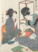 Utamaro (1753-1805), Farbholzschnitt (Japan), rs. bezeichnet Inv. 726603, vorneSammlungsstempel, ca.