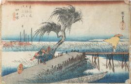 Hiroshige, Utagawa (1797-1858), 53 Stationen (1. Auflage), Farbholzschnitt (Japan),Station 44,