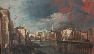 Unbekannter Maler (19./20. Jahrhundert), Ansicht in Venedig, Öl/Malpappe, ca. 34 x 55 cm,gerahmt.