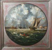 Unbekannter Künstler (19. Jahrhundert), Entrance to Portsmouth Habour, Öl/Holzplatte,schwere runde