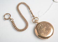 Herrentaschenuhr 585 GG (um 1900/20), goldfarbenes Zifferblatt m. arabischer Minuterie inGold,