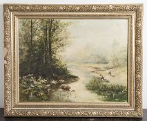 Unbekannter Künstler (20. Jahrhundert), Schilfsammler am Flußufer, Öl/Lw, ca. 56 x 73 cm,gerahmt.