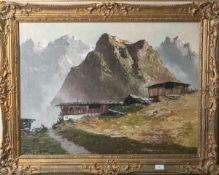 Arnold-Graboné, Georg (1896 - 1982), Berghütte vor Gebirgskulisse, Öl/Lw., li. u. sign.,rs. bez.,