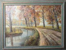 Brenneis, Jo (1910-1994), Waldlandschaft, Öl/Lw., re. u. sign., ca. 102 x 75 cm, gerahmt.
