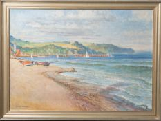 Urtnowski, Theodor (1881-1963), Bucht mit Booten und Steg (vermutlich Polen), Öl/Lw., li.u. sign.,