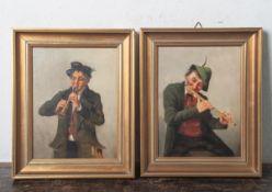Oehring, Hedwig (1855-1907), zwei Gemälde, Motiv Flötisten, Öl/Holz, jeweils sign.,gerahmt, ca. 24,5
