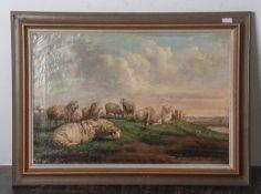 Corbett, F. (19. Jahrhundert), Darstellung einer ruhenden Schafherde auf der Wiese, Öl/Lw,li. u.