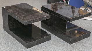 2 gleiche Beistelltische, Aldo Tura (Italien, 1980er Jahre), Holzkorpus m. Ziegenlederüberzogen u.