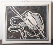 "Bredhauer, Anneliese/bré (1920-2007), ""Anlehnung"", Autolack/Lw, li. u. sign., dat. (20)01,ca. 48 x"