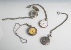 Konvolut von 4 Taschenuhren (teils neuzeitlich), Gehäusen teils aus Silber,Email-Zifferblatt, röm.
