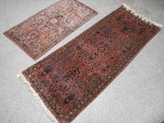 2 Sarough-Läufer (Iran, Persien), florales Muster, handgeknüpft, 1x ca. 194 x 72 cm u. 1xca. 125 x