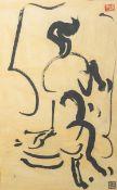 Unbekannter Künstler (wohl Japan), schwarze Tusche auf gelben Grund, oben u. unten rechtsjeweils
