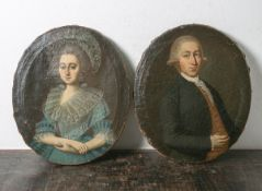 Unbekannter Portraitist (18. Jahrhundert), Portrait einer jungen Dame im blauenSpitzenkleid u. m.