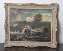 Unbekannter Künstler (19./20. Jahrhundert), Fischerboote bei stürmischem See, Öl/Lw., ca.40 x 50 cm,