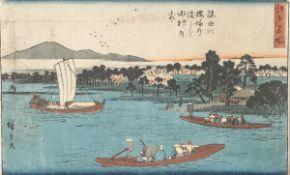 Unbekannter Künstler (Japan), reges Treiben auf dem Fluss, Farbholzschnitt, mehrfach bez.,ca. 22 x