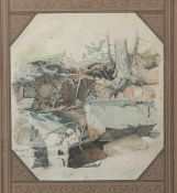 Kieldrup, Anton Edvard (1826-1869), Landschaftsmotiv, Aquarell/Papier, li. u. sign., rs.bez.,