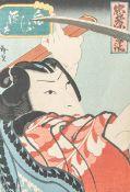 Unbekannter Künstler (Japan), Tänzer, Farbholzschnitt, mehrfach bezeichnet, ca. 25 x 18cm, PP.