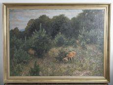 Maffei, Guido v. (1838-1922), Rehe auf einer Waldlichtung, Öl/Lw, re. u. sign., gerahmt,ca. 83,5 x