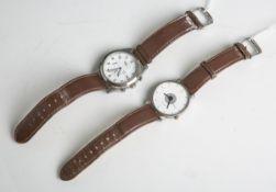 "Konvolut von 2 Herrenarmbanduhren ""Madison u. Sax"", m. braunen Armband, Funktion nichtgeprüft."