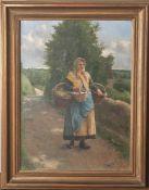 "Aranda, Luis Jiménez (1845-1928), ""Pontoise 1901"", Öl/Lw, Bauersfrau m. Körben auf dem Wegzum Markt,"