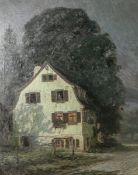 """Jung, Otto (1867 - 1966), """"Das Haus am Weg"""", Öl/Lw, mittig u. sign., dat. u. ortsbez.""""Stuttgart"""