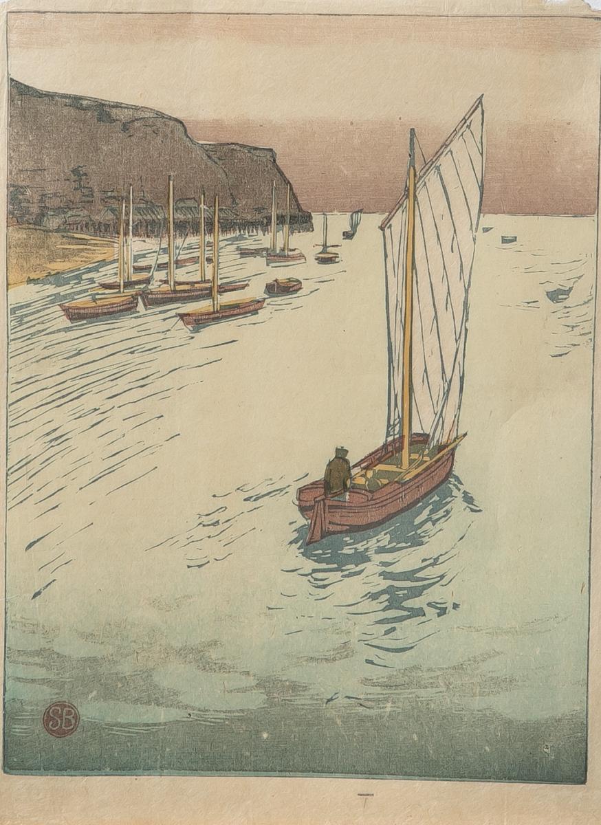 Lot 58 - Unbekannter Künstler (Japan), Fischerboote, Farbholzschnitt, li. u. rotesStempel-Monogramm (SB), ca.