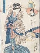 "Unbekannter Künstler (bez. Kuminada, Japan), Frau im Kimono, Farbholzschnitt, bez.""Gentigi"