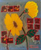 Tannous, Jean (geboren 1946), Zwei Gelbe Blumen, Epoxidharzbeschichtete Mixed-MediaKomposition auf