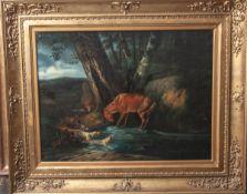 Unbekannter Maler (18. Jahrhundert), eine Meute Jagdhunde einen Hirsch stellend, Öl/Lw.,naturgetreue