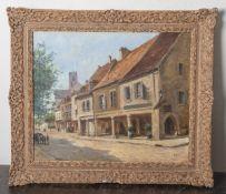 Bailly, Alexandre (1866-1949), Straßenzug wohl im Elsass, Öl/Lw, re. u. sign., ca. 45 x 54cm.