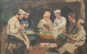 Unbekannter Maler (wohl um 1900), 6 Personen beim Kartoffelschälen, Öl/Malpappe, ca. 30 x44 cm,