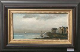 Unbekannter Künstler (wohl 20. Jahrhundert), Fischerboote vor einer Küste, Öl/Holz, ca.11,5 x 23,5