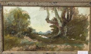 Unbekannter Künstler (wohl 20. Jahrhundert), Waldlandschaft, Ölstudie/Preßplatte, ca. 13 x24 cm,