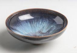 Zierschale aus Keramik (wohl 1960er Jahre), feine, hauchdünne Schale aus Steinzeug m.fabelhafter