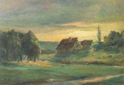 Unbekannter Künstler (19./20. Jahrhundert), bäuerliche Landschaft, Öl/Malpappe, li. u.undeutlich