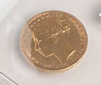 """1 Sovereign """"Victoria D: G: Britanniar: Reg: F: D."""" (Australien, 1874), Goldmünze, Rs.:St. Georg,"""