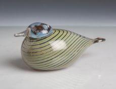 """Toikka, Oiva (1931 - 2019), """"Bird"""", stilisierte vollplastischeAusführung eines Vogels, Iittala,"""