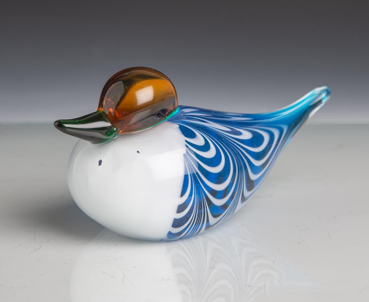Lot 36 - Vogelfigur aus Glas (wohl Oiva Toikka), stilisierte vollplastische Ausführung einesVogels, farbloses