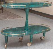 Servierwagen, Design Aldo Tura (Mailand, Italien, 1950/60er Jahre), ovale Grundform,2-etagig,