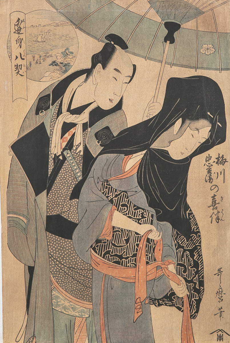 Lot 57 - Unbekannter Künstler (Japan), Paar mit Sonnenschirm, Farbholzschnitt, mehrfach bez., ca.38,5 x 25,