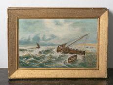 Johnsen, R. (wohl 20. Jahrhundert), Segler an stürmischer Küste, Öl/Holzplatte, re. u.sign., ca.